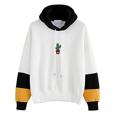 bdc305c48c Hansee Womens Long Sleeve Hoodie Cute Cactus Print Sweatshirt Fashion  Pullover Tops  Amazon.co.uk  Clothing