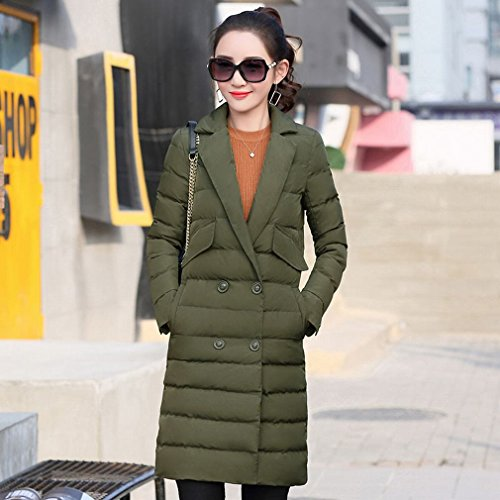 Jacket of Women Collar Section Long Coat down in the Shi Suits Winter Double Skirt green Women Breasted HF Han Olive Ow0f0p