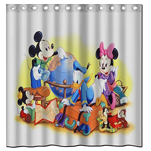 Duschvorhang Badezimmer Custom DIY Disney Cartoon Minnie Mickey Mouse Wasserdicht Standtar Grosse 60 X 72 Polyester Mischgewebe