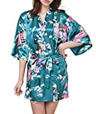 USM Women's Kimono Robes Pajamas Silk Nightwear Short