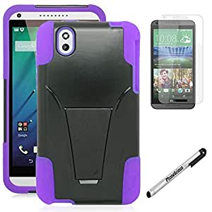 HTC DESIRE 816 Cover Phonelicious(Tm) For HTC DESIRE 816 (Virgin Mobile) Heavy Duty Rugged Impact Verge Armor Hybrid Kickstand Dynamic Case Phone Cover Tuff Verge + Premium Screen Protector Combo & Phonelicious® Stylus Pen (Purple Y)
