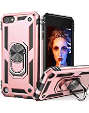 iPod Touch 7 Case, iPod Touch 6 Case with Car Mount,IDweel Hybrid Rugged Shockproof Protective Cover with Built-in Kickstand for Apple iPod Touch 5 6 7th Generation, Red (Rose Gold)