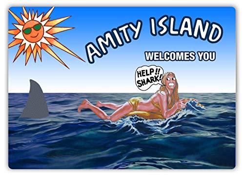 Faaca Amity Island Shark Billboard Metal Wall Sign Plaque Art Horror Jaws
