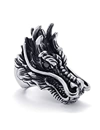 TEMEGO Jewelry Mens Stainless Steel Ring, Vintage Gothic Dragon Head Band, Black Silver