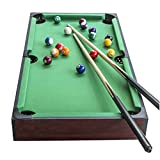 KAKIBLIN Mini Pool Table, 36 inch Tabletop Billiard Table Mini Portable Snooker Pool Game Set 36 × 18 × 7.9 inch Pool Table with Cues, Balls, Racking Triangle – Green Felt