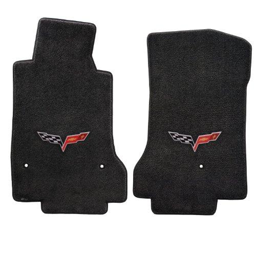 - 2008-2012 C6 Corvette Ebony Black Floor Mats with Flag Emblem - Driver & Passenger Set