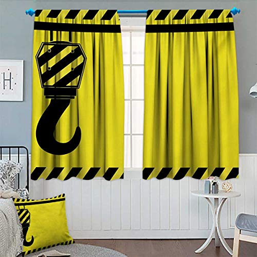 Chaneyhouse Construction Window Curtain Fabric Mechanical Theme Black Hook with Diagonal Striped Frame Picking Pulling Drapes for Living Room 72
