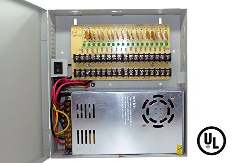 18 Channels 30 Amps CCTV Surveillance High Efficiency Power Box 12VDC Security Camera Power Supply With LED Indicator, 1.6A PTC Smart Fused Included UL Listed by CCTVOnSales (Image #1)