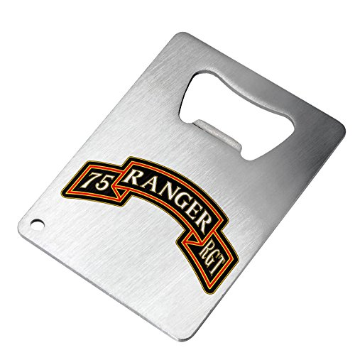 Bottle Opener - Stainless Steel - Fits in wallet - US Army 75th Ranger Regiment (Airborne), sevice badge