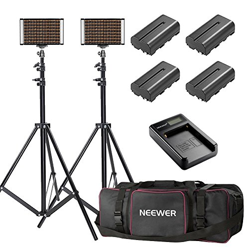 Neewer 2-Pack Bi-color Dimmable 280 LED Video Light and Stand Lighting Kit with Battery, USB Charger and Carrying Bag – 3200-5600K,CRI 95+ LED Panel for Camera Photo Studio, YouTube Video Shooting