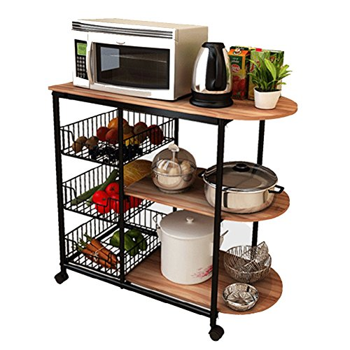 LXLA- 3-Tier Kitchen Shelf Can Move Anywhere Trolley Storage Rack Floorstanding Microwave Oven Widen 80×38×84.8 Cm (Color : Teak color, Size : With (Teak Trolley)