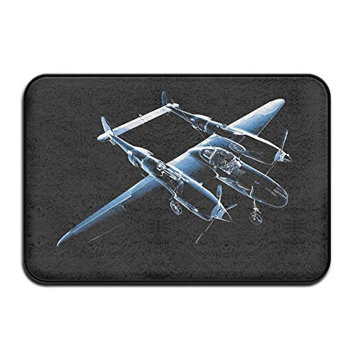 3D Cool Airplane Home Door Mat Super Absorbent Antislip Front Floor Mat,Soft Coral Memory Foam Carpet Bathroom Rubber Entrance Rugs for Indoor Outdoor -