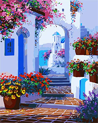 DIY Paint by Numbers Canvas Paints Kits for Adult Kids Greece House Painting by Number for Home Wall Decor,Unmounted