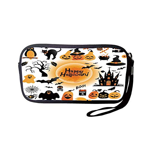 iPrint Neoprene Wristlet Wallet Bag,Coin Pouch,Halloween Decorations,All Hallows Day Objects Haunted House Owl and Trick or Treat Candy,Orange Black,for Women and Kids ()