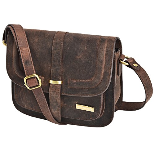 Leather Crossbody Purse Bag For Women - Saddle Handbag Cross Body Travel Purses and Woman Bags by Estalon (Brown Crazy Horse) (Strap Stitched Saddle)