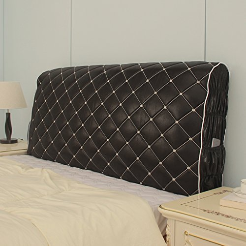 Taiyucover Stretch Bed Headboard Protectors;Dustproof Solid Color PU Leather Bed Head Slipcovers;Bedside Bedroom Decorative Covers (Black, King)