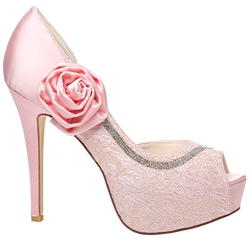 Plattform Sko Party Bryllup Toe Diamante Sateng Sandaler Blonder Kvinners Damene Meijia Rosa Prom Pumper Hæler Peep wxOn8q04
