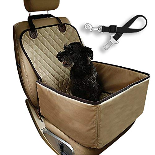 Flow.month Dog car seat Dog Safety seat Pet Front Seat Cover Pet Booster Seat,Deluxe 2 in 1 Dog Seat Cover for Cars Waterproof Dog Front Seat Cover Pet Bucket Seat Cover with Safety Belt