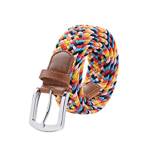 Braided Elastic Belts for Men and Women, Multicolor Stretch Woven Belt with Pin Buckle, 45 Inch (Candy color2) (Colored Buckle)