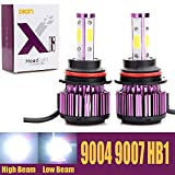 9004 9007 HB1 LED Headlight Bulbs 20000LM 200W High Low Dual Beam 360 Degree 4 Side COB Chips 6000K Cool White Super Bright Auto Headlamps Conversion Kit All-in-One Plug & Play - 2 Yr Warranty