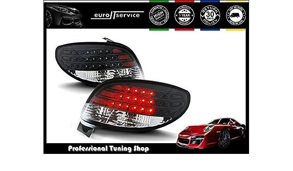 Black Smoke//Red LED Rear Bumper LED Fog Lamp Fog Light for Peugeot 206 206cc