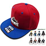Fortnite Battle Royale Unisex Adjustable Hats with Minifigure Hip Hop Baseball Caps for Boys Girls (Fortnite Hat/Cap, Blue/Red)