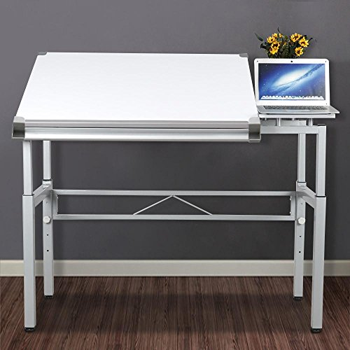 Yaheetech Height Adjustable Multifunctional Drafting Table Arts and Craft Table Drawing Table Painting Table Desk Writing Workstation with Side Table Folding Dual Top White