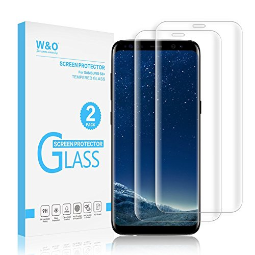 [2-Pack] S8+ Screen Protector,W&O Glass Screen Protector for Samsung Galaxy S8 Plus Curve Edge Full Coverage Strong Adhesive Flim 2018 New (6.2,Transparent)