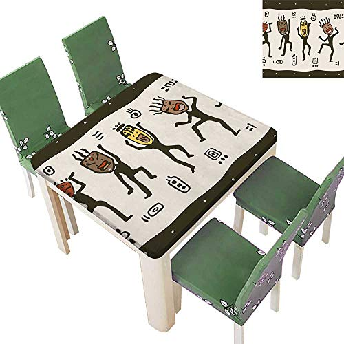 Polyester Tablecloth Table Cover Nativ Wear African Masks Prehistoric Rituals Theme Black Beige for Dining Room 52 x 52 Inch (Elastic Edge)]()