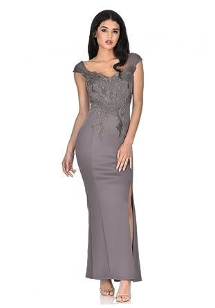 AX Paris Womens Dark Lace Overlay Maxi Dress(Grey, ...