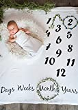 ONE4ONE Safety's Baby Monthly Photo Blanket White + 25 Free Bonus Infant Milestone Stickers | Super Cute Baby Shower Gift | Best Quality Photo Backdrop | 15% Helps A Mother and Child In Ethiopia