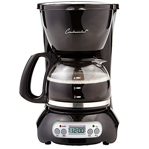 Continental Electric Appliances - Continental Electric CP43929 Digital 4 Cup Coffee Maker, Black,