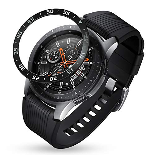 Goton Bezel Ring Compatible Samsung Galaxy Watch 46mm Bezel, Gear S3 Frontier Classic, Watch Bezel Cover Protector Adhesive Loop Anti Scratch (46mm UPH,Black)