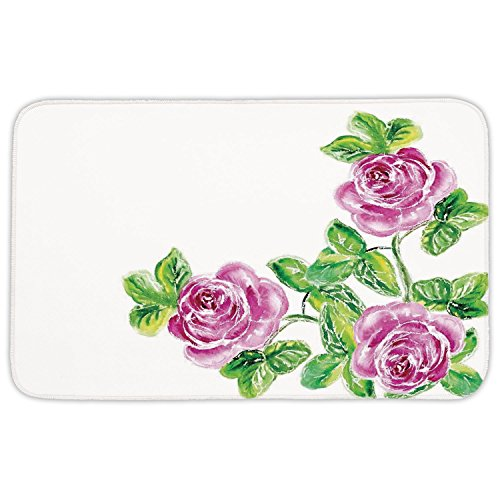 Rectangular Area Rug Mat Rug,Watercolor Flower House Decor,Picturesque Glamour Dramatic Rose Figures with Cracked Effect,Pink Green,Home Decor Mat with Non Slip Backing by iPrint