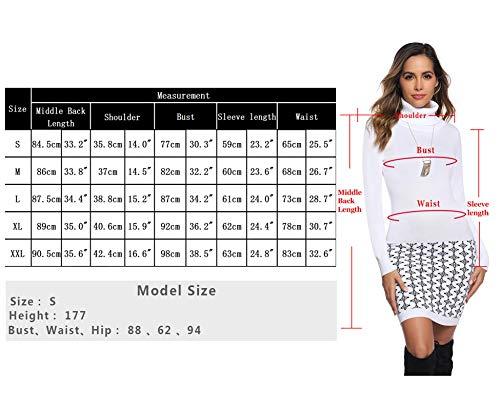 Hawiton Women's Turtle Neck Knitted Jumper Printed Hem Sweater Dress Tunic Slim Fit Knitwear
