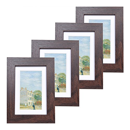 - 4x6 Wood Picture Frame - Flat Profile - Set of 4 - for Picture 3x5 with Mat or 4x6 Without Mat (Walnut)