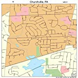 Large Street & Road Map of Churchville, Pennsylvania PA - Printed poster size wall atlas of your home town