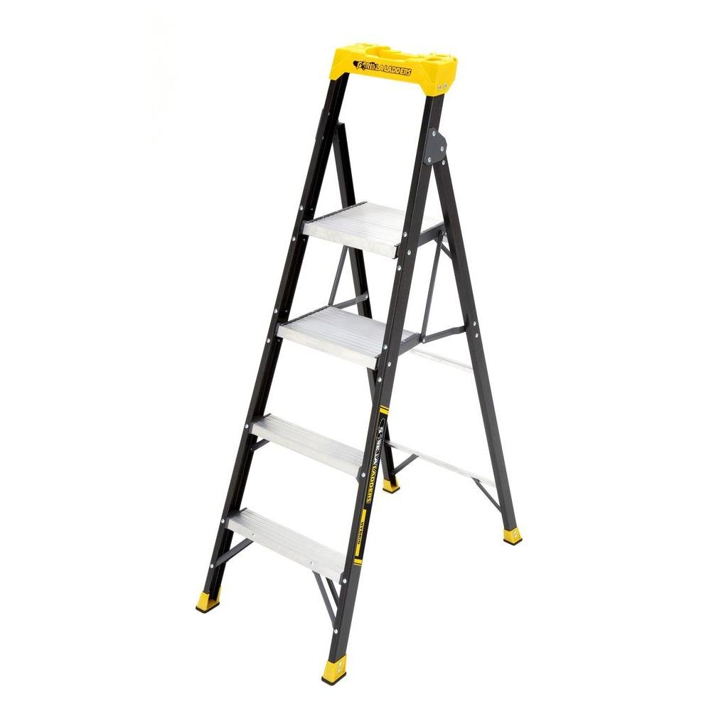 Gorilla Ladders 5.5 ft. Fiberglass Hybrid Ladder with 250 lb. Load Capacity Type I Duty Rating (Comparable to 6 ft. Step by Gorilla Ladders