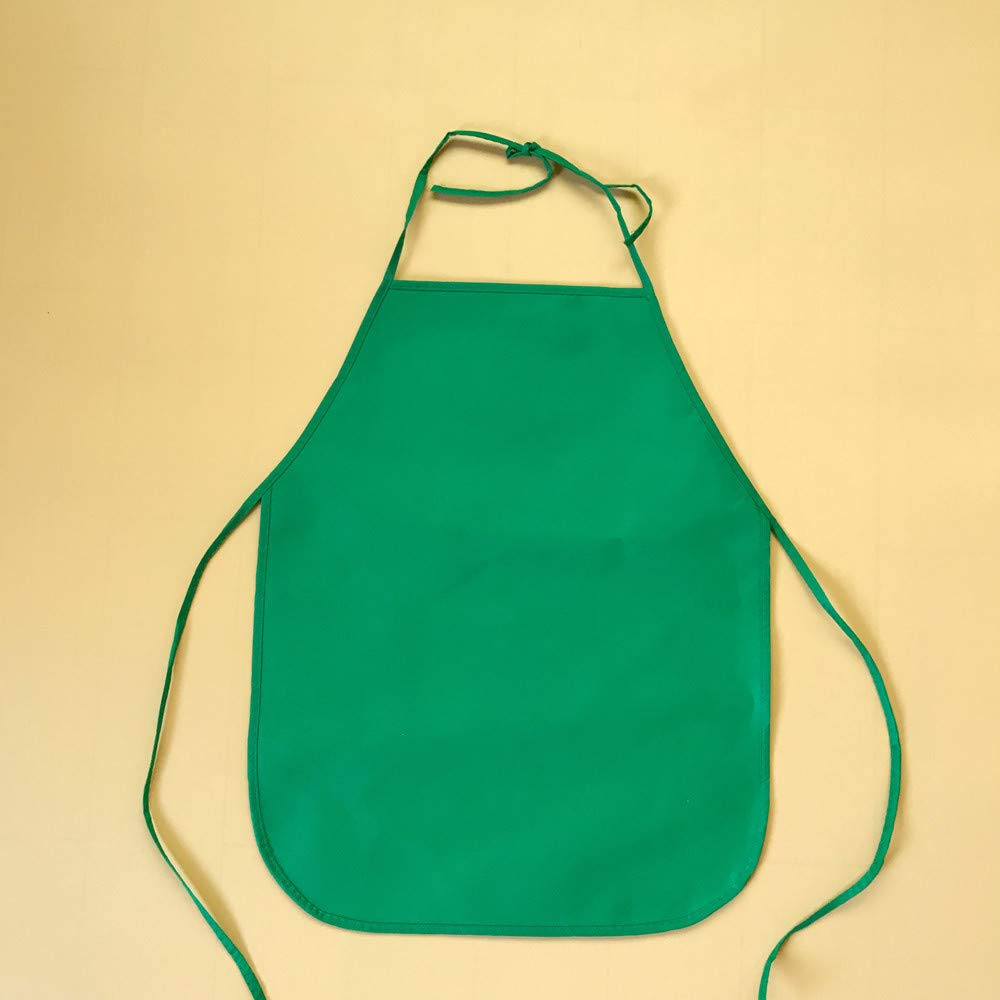 Hot Tuscom Waterproof Oil Resistant, Sleeveless Children Cartoon Kitchen Cooking Bib Apron|Solid Color Adjustable Paint Eat Drink Outerwea|45x65cm for Children Apron(4 Colors) (Green)