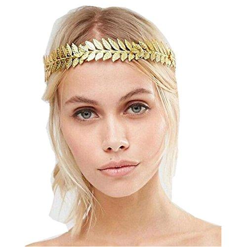 Wiipu Greek Leaf Headdress Gold Wreath Crown Headpiece(A1736)-Gold ()