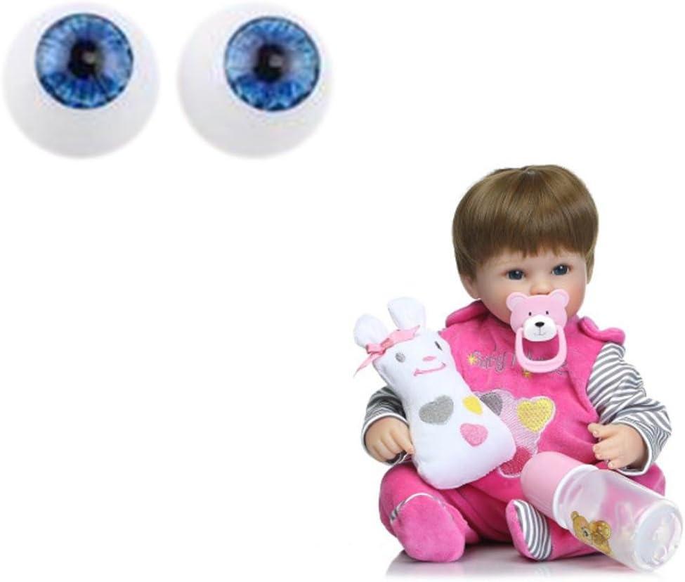 10pc Reborn Silicone Vinyl Baby Dolls Supplies 22mm Half Round Blue Acrylic Eyes