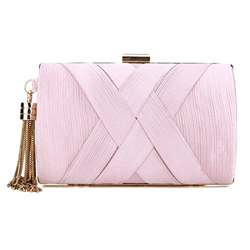 Crystal Womens Bags Stunning Prom Evening Pink Shoulder Party Fame Tassel Wedding Handbag Clutch Ladies Gold 0H0pqrO