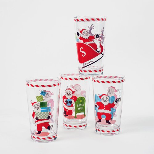 Santa Claus Drinking Glasses Set of 4 Vintage-Style 1950's Art Christmas New