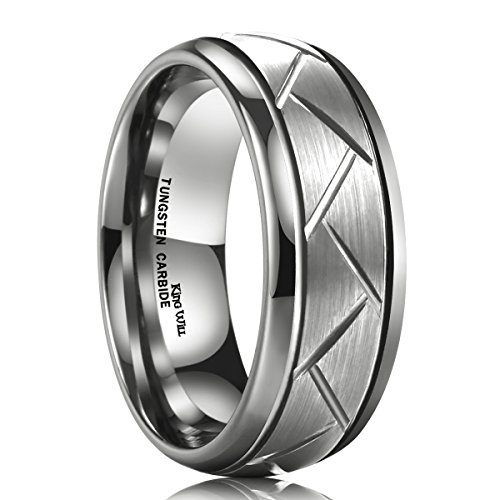 King Will TYRE Men's 8MM Silver Domed Grooved Tungsten Carbide Ring Brushed Wedding Band(10)