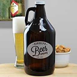 Personalized Beer Growler, Amber 64 oz.