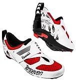 TriSeven Premium Nylon Triathlon Cycling Shoes | Lightweight, Unisex & Fiberglass Sole (47, Red)