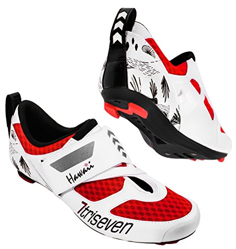 TriSeven Premium Nylon Triathlon Cycling Shoes | Lightweight, Unisex & Fiberglass Sole (42, Red)
