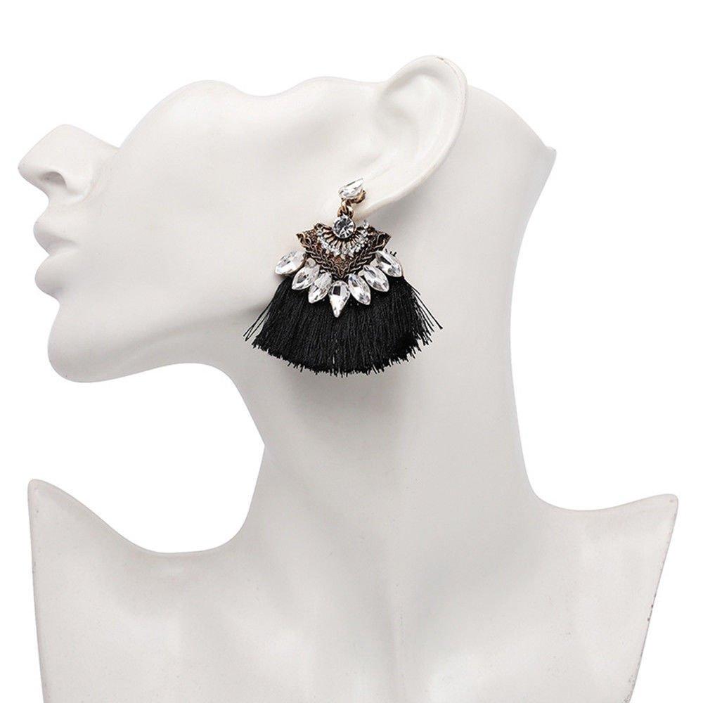 Fashion Women Crystal Rhinestone Tassel Drop Dangle Ear Stud Earring Jewelry LOVE STORY (Black) by LOVE STORY (Image #2)