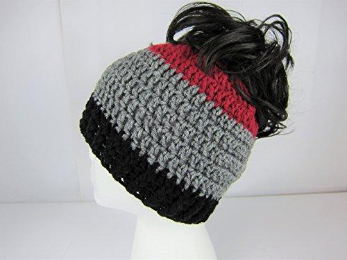 Handmade Messy Bun Hat, Burgandy Grey Black, Crochet Messy Bun Beanie, Womens Adult Teen Junior