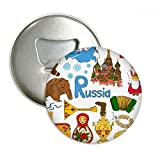 Russia Landscap Animals National Flag Round Bottle Opener Refrigerator Magnet Pins Badge Button Gift 3pcs